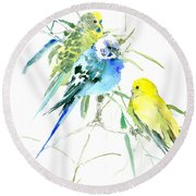 Parakeets Round Beach Towel by Suren Nersisyan