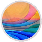 Parallel Dimensions - The Sacred Mountain Round Beach Towel by Serge Averbukh