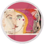 Round Beach Towel featuring the drawing Paranoia by Rod Ismay