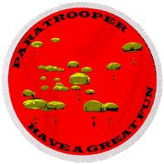 Paratrooper Fun Round Beach Towel