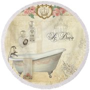 Parchment Paris - Le Bain Or The Bath Chandelier And Tub With Roses Round Beach Towel by Audrey Jeanne Roberts