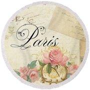Parchment Paris - Timeless Romance Round Beach Towel
