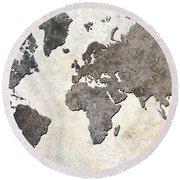 Round Beach Towel featuring the digital art Parchment World Map by Douglas Pittman