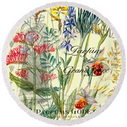 Parfum Vintage Paris Round Beach Towel