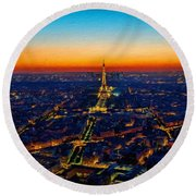 Paris After Sunset Round Beach Towel