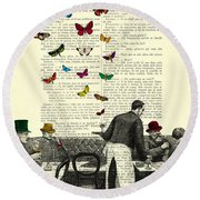 Inside Of A French Bistro At Paris And Rainbow Butterflies Round Beach Towel