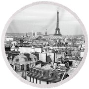 Paris And The Eiffel Tower From Printemps Rooftop  Round Beach Towel