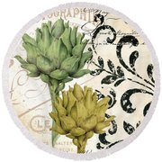 Paris Artichokes Round Beach Towel by Mindy Sommers