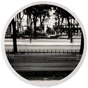 Paris Bench Round Beach Towel