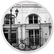Round Beach Towel featuring the photograph Paris Bicycle Street Lanterns Architecture Black And White Art Deco - Paris Black White Home Decor by Kathy Fornal