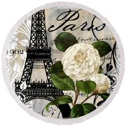 Paris Blanc I Round Beach Towel