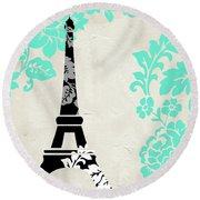 Paris Blues Round Beach Towel