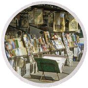 Paris Bookseller Stall Round Beach Towel