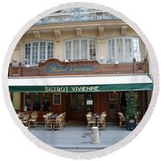 Round Beach Towel featuring the photograph Paris Cafe Bistro - Galerie Vivienne - Paris Cafes Bistro Restaurant-paris Cafe Galerie Vivienne by Kathy Fornal