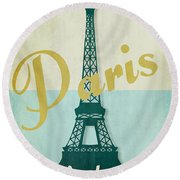Paris City Of Light Round Beach Towel