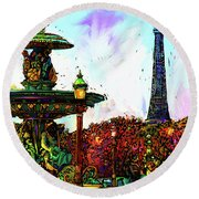 Paris Round Beach Towel by DC Langer