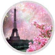 Paris Eiffel Tower Cherry Blossoms - Paris Spring Eiffel Tower Pink Blossoms  Round Beach Towel by Kathy Fornal