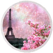 Paris Eiffel Tower Cherry Blossoms - Paris Spring Eiffel Tower Pink Cherry Blossoms  Round Beach Towel