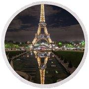 Paris Eiffel Tower Dazzling At Night Round Beach Towel