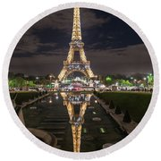 Paris Eiffel Tower Dazzling At Night Round Beach Towel