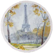 Paris Eiffel Tower From Trocadero Park Round Beach Towel