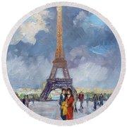 Paris Eiffel Tower Round Beach Towel