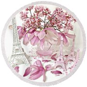 Round Beach Towel featuring the photograph Paris Eiffel Tower Spring Magnolia Flower Blossoms - Paris Pink White Spring Blossoms  by Kathy Fornal