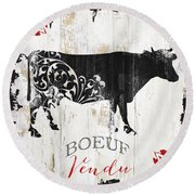 Paris Farm Sign Cow Round Beach Towel