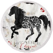 Paris Farm Sign Horse Round Beach Towel