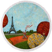 Paris Je T Aime Round Beach Towel