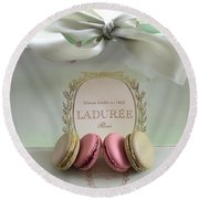 Paris Laduree Mint Box Of Macarons - Paris French Laduree Macarons  Round Beach Towel