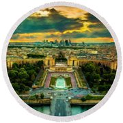 Paris Landscape Round Beach Towel