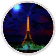 Paris Lights Round Beach Towel