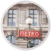 Paris Metro Sign Architecture Round Beach Towel