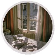 Paris Morning Round Beach Towel