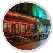 Round Beach Towel featuring the painting Paris Night by Chris Armytage