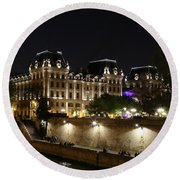 Round Beach Towel featuring the photograph Paris Police Headquarters by Andrew Fare