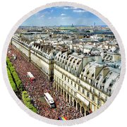 Paris Pride March 2018 Round Beach Towel