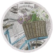 Paris Ride 1 Round Beach Towel by Debbie DeWitt