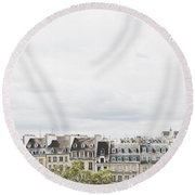 Paris Rooftops View From Centre Pompidou Round Beach Towel