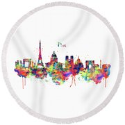 Round Beach Towel featuring the mixed media Paris Skyline 2 by Marian Voicu