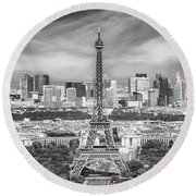 Round Beach Towel featuring the photograph Paris Skyline - Monochrome Panorama by Melanie Viola