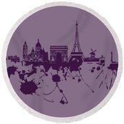 Paris Skyline.1 Round Beach Towel