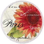 Paris Songs II Round Beach Towel