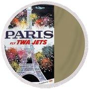 Paris - Twa Jets - Trans World Airlines - Eiffel Tower - Retro Travel Poster - Vintage Poster Round Beach Towel