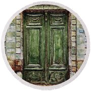 Parisian Door No. 32 Round Beach Towel