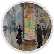 Round Beach Towel featuring the photograph Parisian Street Scene by John Stephens