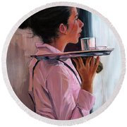 Parisian Waitress Round Beach Towel