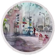 Round Beach Towel featuring the painting Park Avenue 2 by Becky Kim