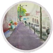 Round Beach Towel featuring the painting Park Avenue 3 by Becky Kim